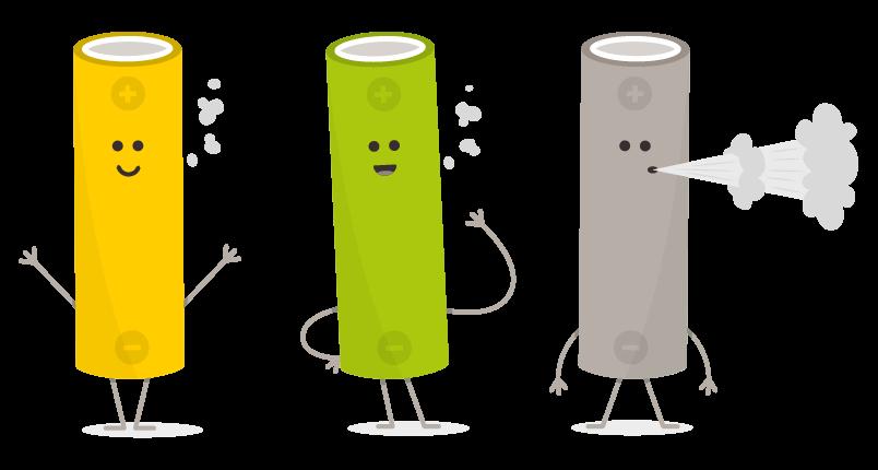 Batteries of an e-cigarette