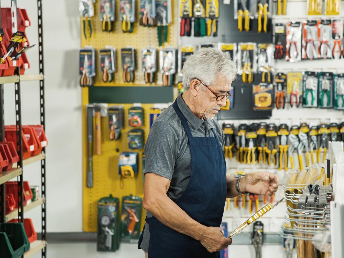 shop owner checking item